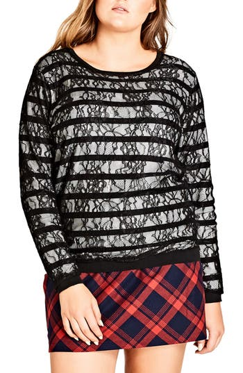 Plus Size Women's City Chic Lace Stripe Sweater, Size X-Small - Black
