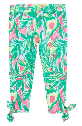 Girl's Lilly Pulitzer Maia Tie Crop Leggings, Size S (4-5) - Green