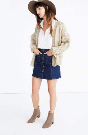 Women's Madewell Fringe Cable Knit Wool Cardigan