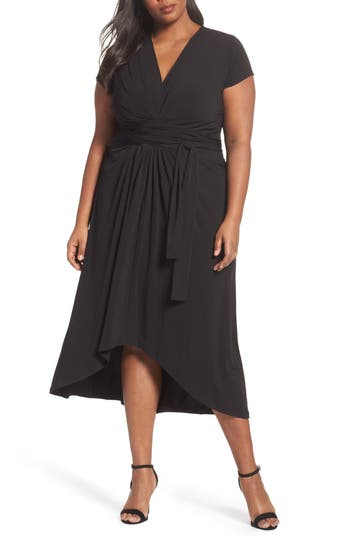 Plus Size Women's Michael Michael Kors Jersey Wrap Maxi Dress, Size 1X - Black