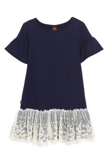 Girl's Tea Collection Ottie Embroidered Tulle Drop Waist Dress