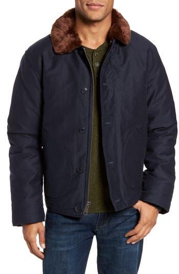 Schott Nyc Faux Fur Collar Water-Repellent Corduroy Down Jacket, Blue