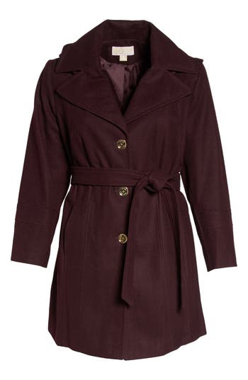 Plus Size Michael Michael Kors Hooded Coat, Red