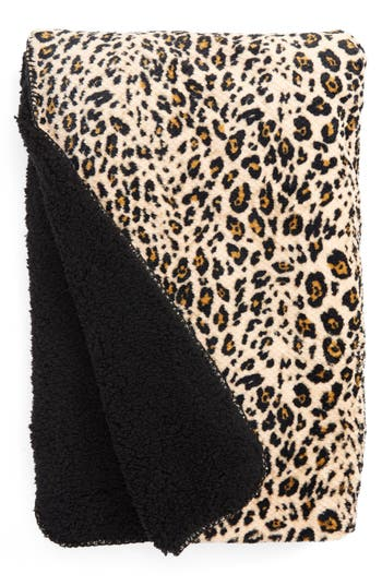 Pj Salvage Leopard Print Faux Shearling Blanket, Size One Size - Beige