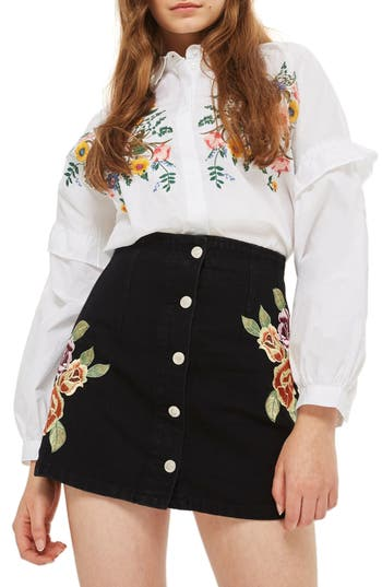 Women's Topshop Embroidered Button Front Denim Skirt, Size 8 US (fits like 6-8) - Black