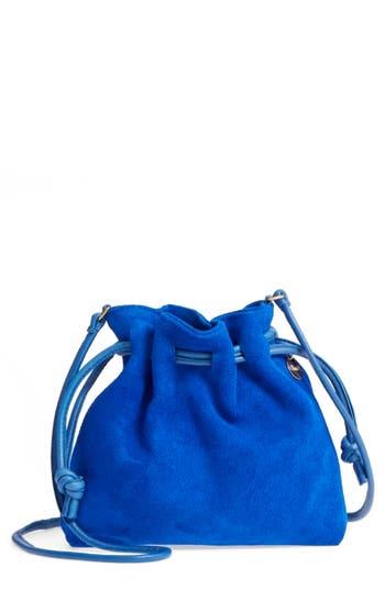 Clare V PETITE HENRI SUEDE BUCKET BAG - BLUE