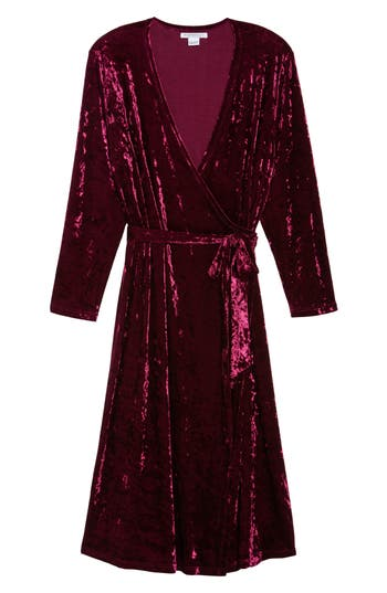 Plus Size Women's Glamorous Velvet Midi Wrap Dress, Size 22W - Red