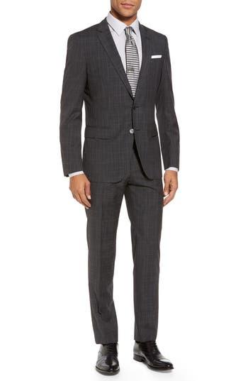 Men's Boss Hutson/gander Trim Fit Plaid Wool Suit
