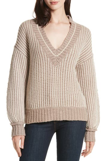 Women's Brochu Walker Jessen Stripe Wool & Cashmere Sweater, Size X-Small - Brown