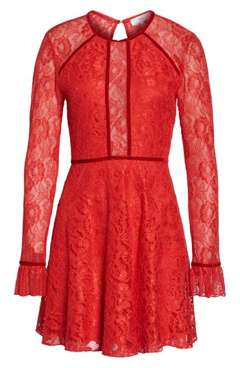 Nsr Chantilly Lace Skater Dress, Red