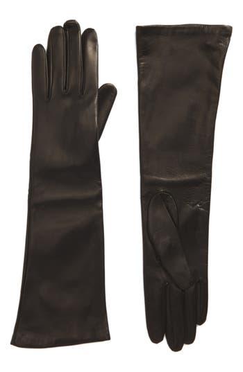 Max Mara Long Leather Gloves, Black