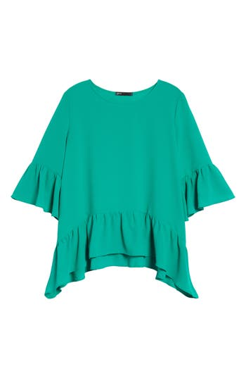 Petite Women's Gibson Ruffled Handkerchief Hem Top, Size XX-SmallP - Green
