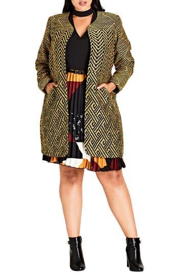 Plus Size City Chic Long Carpool Jacket, Black