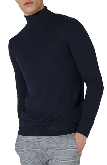Men's Topman Turtleneck Sweater, Size Large - Blue