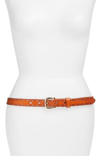 Elise M. Trevor Perforated Leather Hip Belt, Cognac