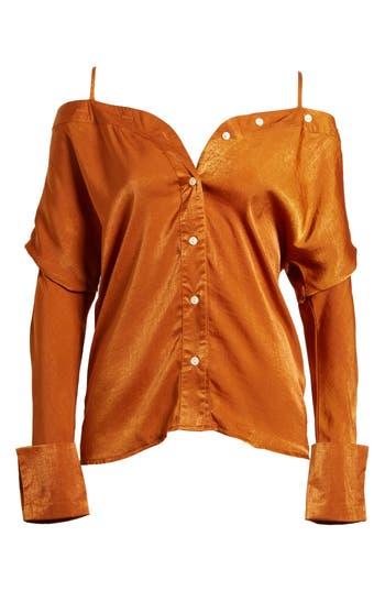 Women's Alpha & Omega Satin Off The Shoulder Blouse, Size X-Small - Orange