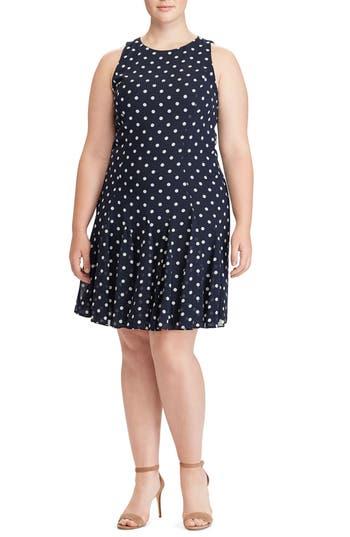 Vintage Polka Dot Dresses – 50s Spotty and Ditsy Prints Plus Size Womens Lauren Ralph Lauren Cosmina Dot Fit  Flare Dress $89.98 AT vintagedancer.com