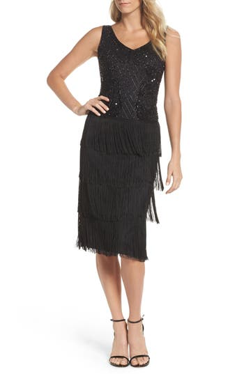 1930s Style Fashion Dresses Pisarro Nights Embellished Fringe Tiered Sheath Dress $258.00 AT vintagedancer.com