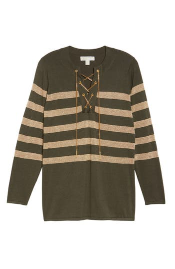 Plus Size Women's Michael Michael Kors Chain Lace-Up Stripe Sweater, Size 0X - Green