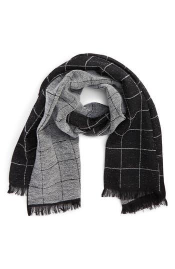 Men's Canali Windowpane Wool Blend Scarf, Size One Size - Black