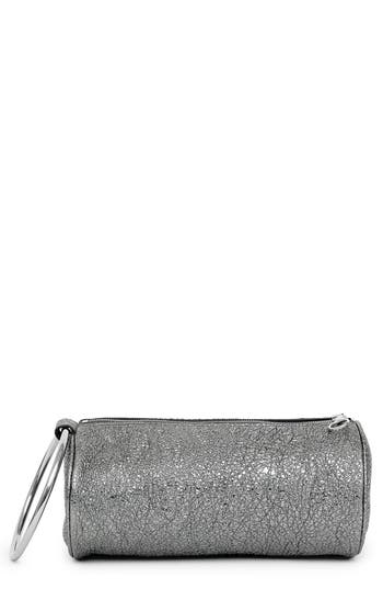 Kara Crinkled Metallic Leather Duffel Wristlet Clutch - Metallic