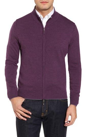 Men's Thomas Dean Merino Blend Full Zip Cardigan, Size Small - Purple