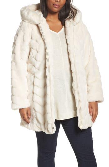 Plus Size Gallery Hooded Chevron Faux Fur Coat, Ivory