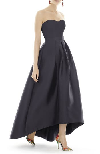 Alfred Sung Strapless High/low Sateen Twill Gown, Black