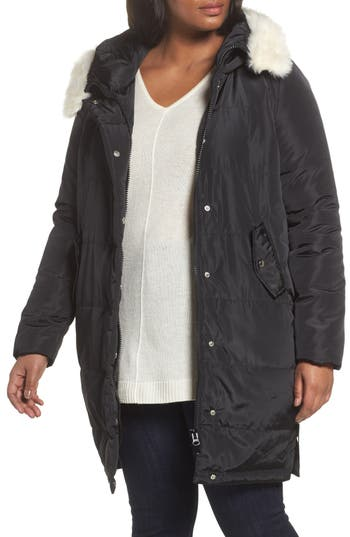 Plus Size Lost Ink Puffer Coat With Faux Fur Trim, Black