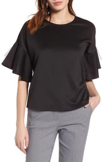 Women's Halogen Mesh Flutter Sleeve Top
