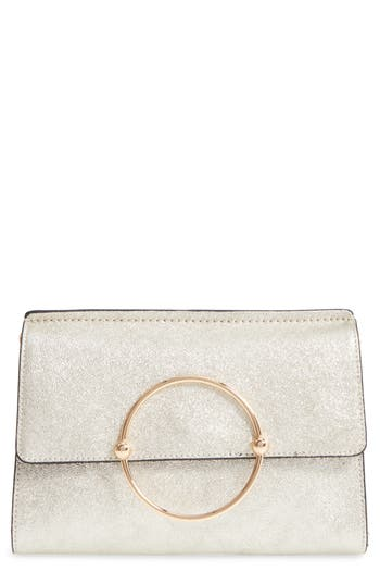 Milly Metallic Leather Clutch -