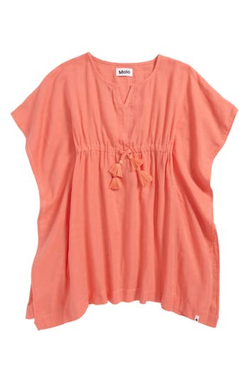 Girl's Molo Caly Batwing Cover-Up, Size 3-5Y / 98-119 cm - Coral