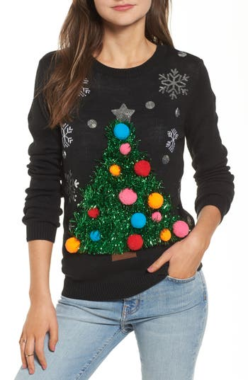 Women's Ten Sixty Sherman Tinsel Christmas Tree Sweater, Size Small - Black