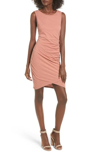 Leith Ruched Body-Con Tank Dress, Coral