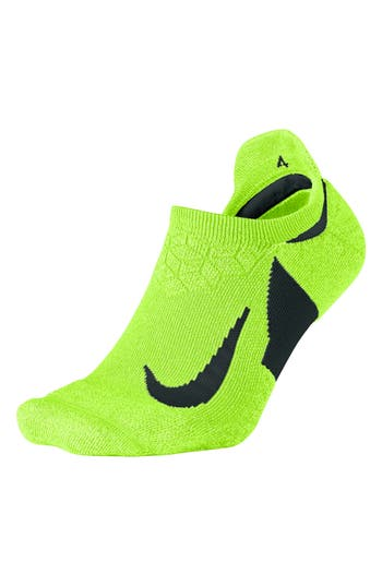 Men's Nike Elite Cushioned No-Show Tab Running Socks, Size X-Large - Yellow