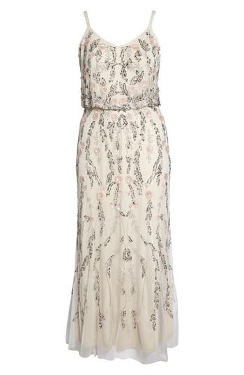 1920s Wedding Dresses- Art Deco Style Plus Size Womens Adrianna Papell Beaded Blouson Gown $379.00 AT vintagedancer.com