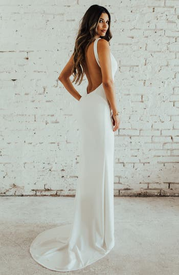 Noel And Jean By Katie May Paloma Plunge Back Trumpet Gown, Ivory