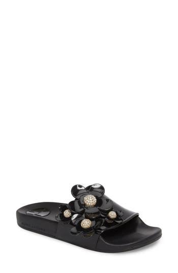Marc Jacobs Daisy Aqua Slide Sandal, Black
