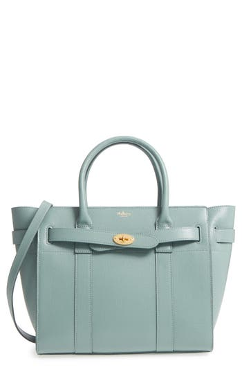 Small Zipped Bayswater Calfskin Leather Satchel - Blue