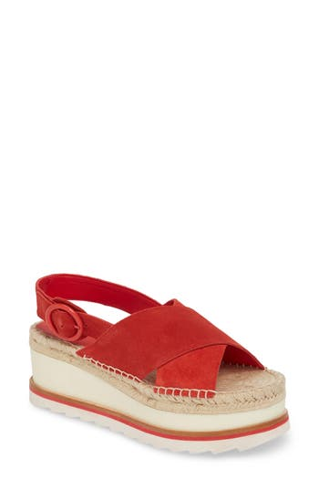 Marc Fisher Ltd Glenna Platform Slingback Sandal, Red