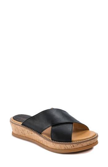 Latigo Kayda Cross Strap Platform Sandal, Black