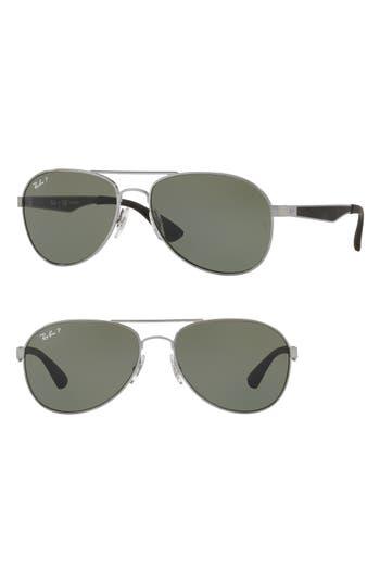 Ray-Ban 61Mm Polarized Aviator Sunglasses - Gunmetal