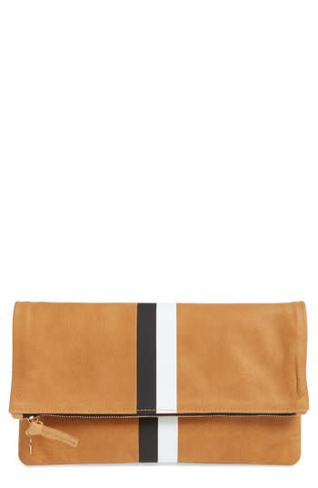 Clare V CENTER STRIPE LEATHER FOLDOVER CLUTCH - BROWN