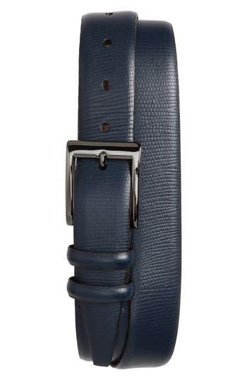 Big & Tall Torino Belts Lizard Embossed Leather Belt, Navy