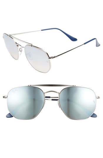 Ray-Ban Marshal 5m Aviator Sunglasses - Silver/ Mirror