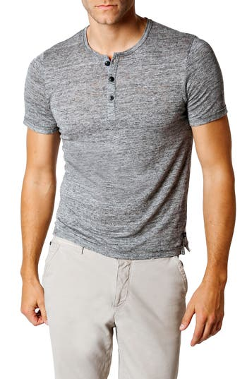 Good Man Brand Trim Fit Heathered Jersey Henley, Grey