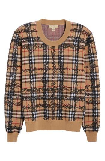 Burberry Kern 48 Scribble Check Merino Wool Sweater, Brown