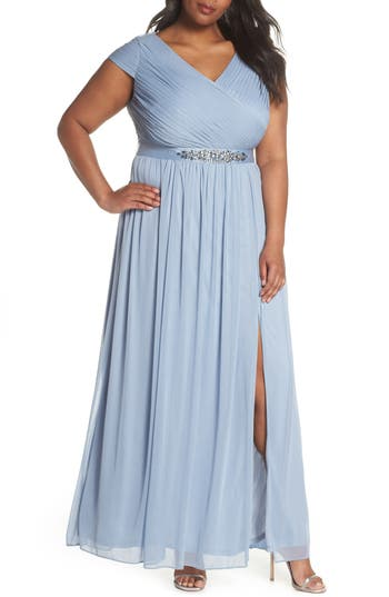 Plus Size Adrianna Papell Tulle Gown, Blue
