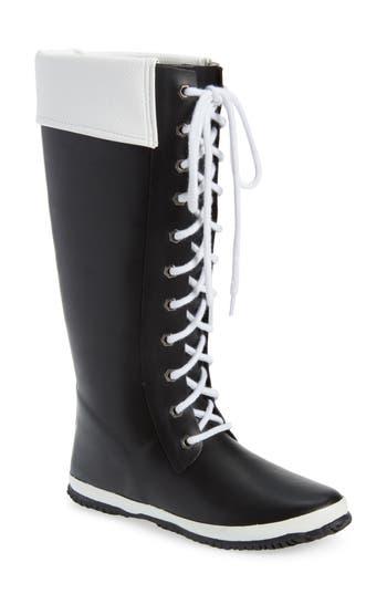 Dav Lace-Up Rain Boot, Black
