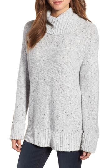 Caslon Roll Neck Cotton Wool Blend Sweater, Grey